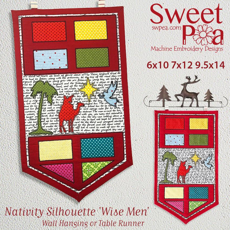 Nativity Silhouette 'Wise Men'  Table Runner or Wall Hanging 6x10 7x12 9.5x14 I - Sweet Pea In The Hoop Machine Embroidery Design