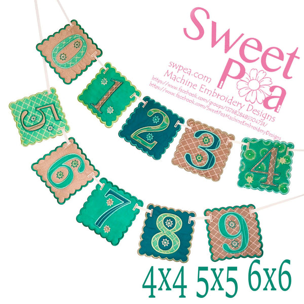 Number Bunting 4x4 5x5 6x6 - Sweet Pea In The Hoop Machine Embroidery Design