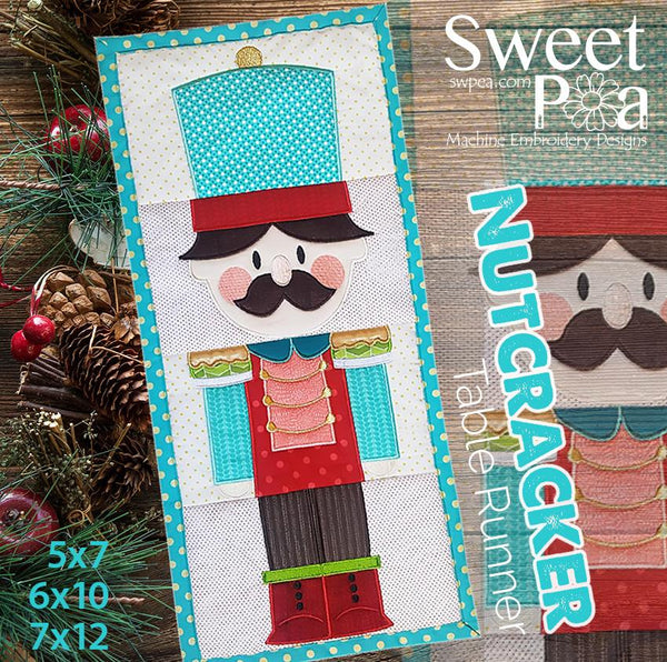 Nutcracker Table Runner 5x7 6x10 7x12 - Sweet Pea In The Hoop Machine Embroidery Design