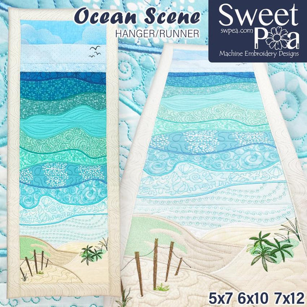 Ocean Scene Hanger or Runner 5x7 6x10 and 7x12 - Sweet Pea In The Hoop Machine Embroidery Design