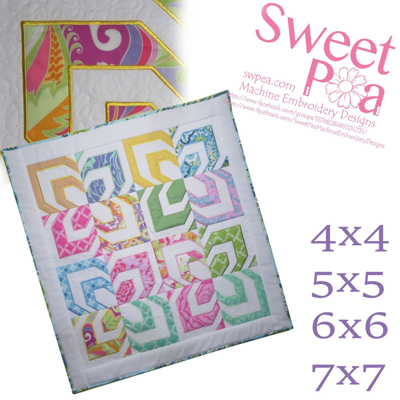 Opposites Attract Quilt 4x4 5x5 6x6 7x7 - Sweet Pea In The Hoop Machine Embroidery Design
