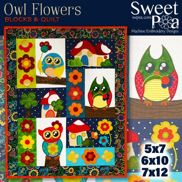 Owl Flowers Block and Quilt 5x7 6x10 and 7x12 - Sweet Pea In The Hoop Machine Embroidery Design