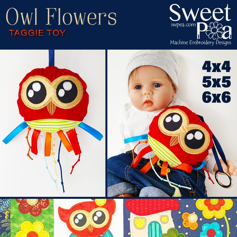 Owl Flowers Taggie Toy 4x4 5x5 6x6 - Sweet Pea In The Hoop Machine Embroidery Design