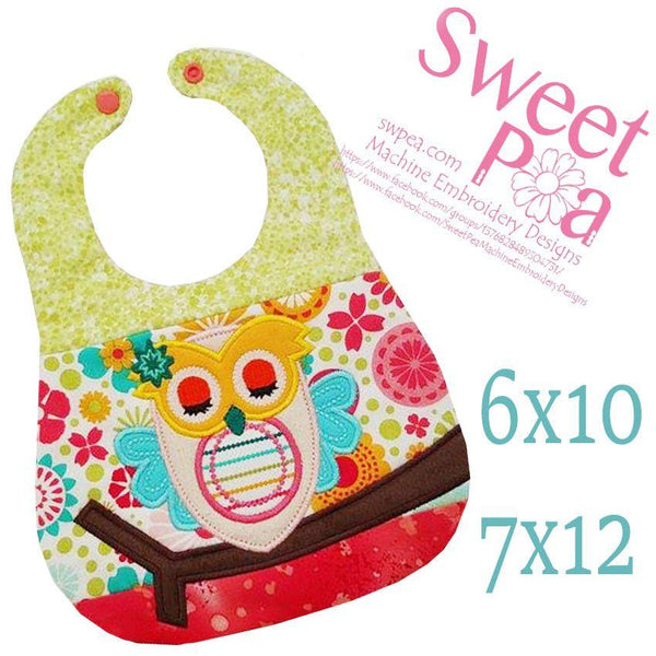 Owl Bib 6x10 and 7x12 - Sweet Pea In The Hoop Machine Embroidery Design