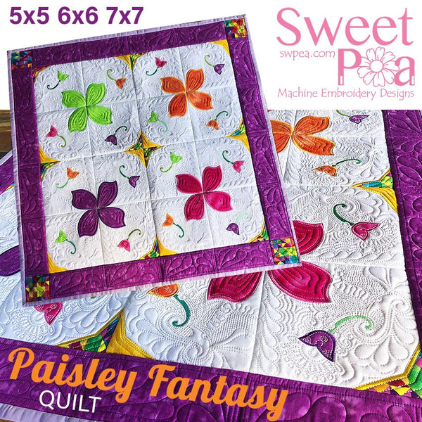 Paisley Fantasy Quilt 5x5 6x6 7x7 - Sweet Pea In The Hoop Machine Embroidery Design