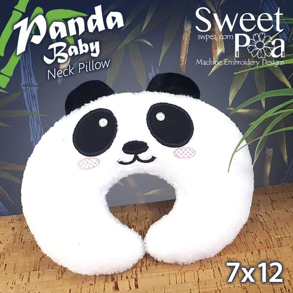 Panda Baby Neck Pillow 7x12 - Sweet Pea In The Hoop Machine Embroidery Design