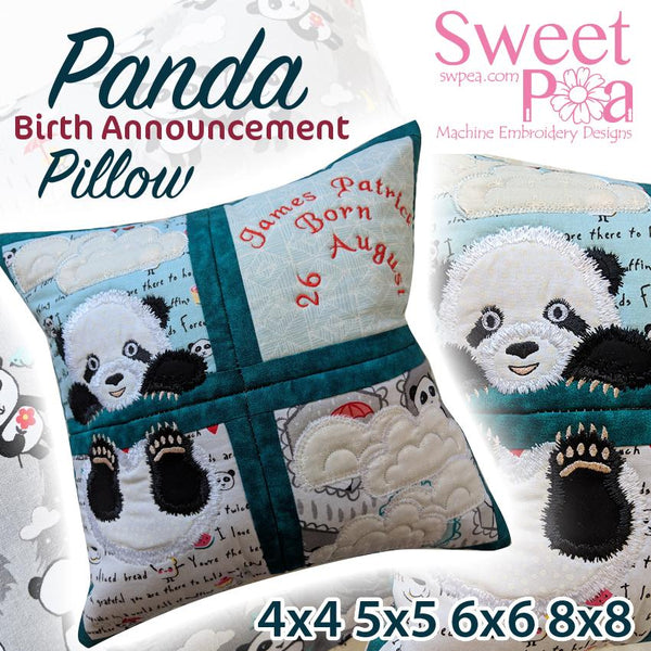 Panda Birth Announcement 4x4 5x5 6x6 8x8 - Sweet Pea In The Hoop Machine Embroidery Design