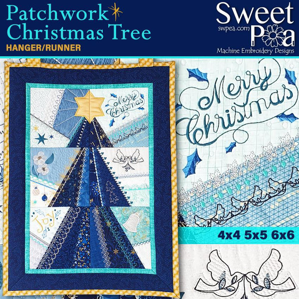 Patchwork Christmas Tree Wall Hanging / Runner  4x4 5x5 6x6 - Sweet Pea In The Hoop Machine Embroidery Design