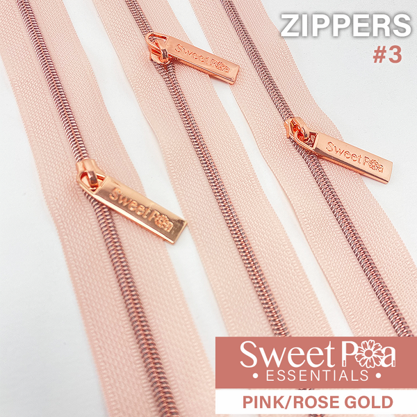 Sweet Pea #3 Zippers - PINK/ROSE GOLD
