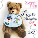 Pirate Monkey Bib 5x7 - Sweet Pea In The Hoop Machine Embroidery Design