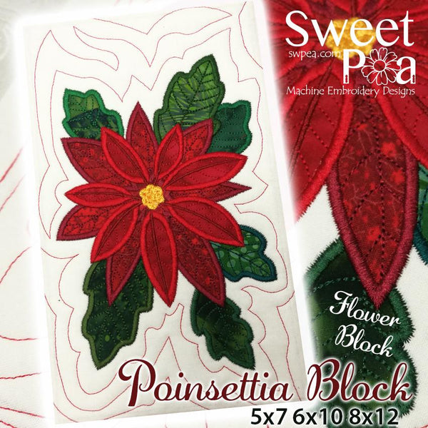 Poinsettia Flower Block Add-on 5x7 6x10 8x12 - Sweet Pea In The Hoop Machine Embroidery Design