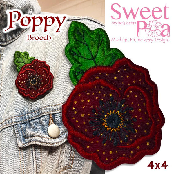 Poppy Brooch 4x4 - Sweet Pea In The Hoop Machine Embroidery Design