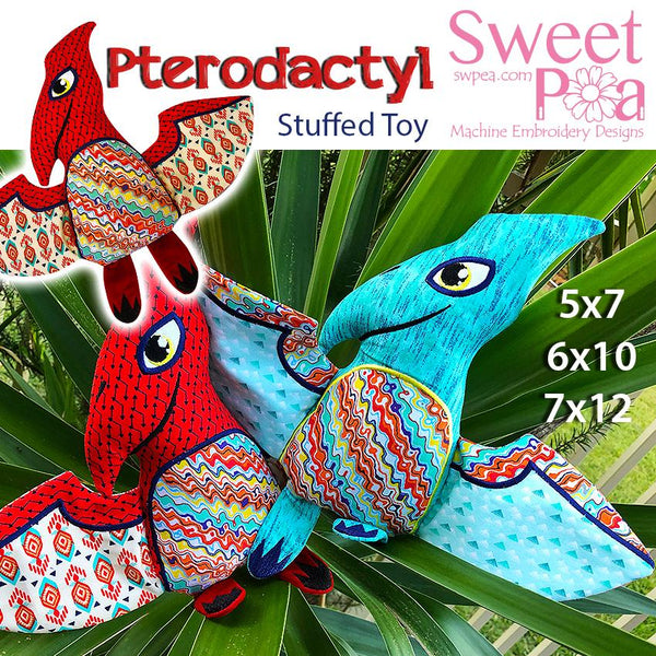 Pterodactyl Stuffed Toy 5x7 6x10 7x12 - Sweet Pea In The Hoop Machine Embroidery Design