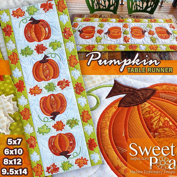 Pumpkin Quilt Block and Table Runner 5x7 6x10 8x12 9.5x14 - Sweet Pea In The Hoop Machine Embroidery Design