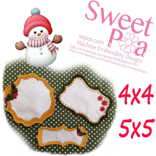 Christmas quilt labels 4x4 and 5x5 - Sweet Pea In The Hoop Machine Embroidery Design