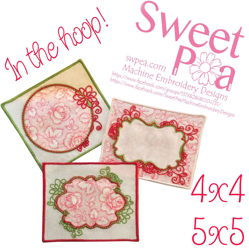 Flowery Quilt Labels 4x4 and 5x5 - Sweet Pea In The Hoop Machine Embroidery Design
