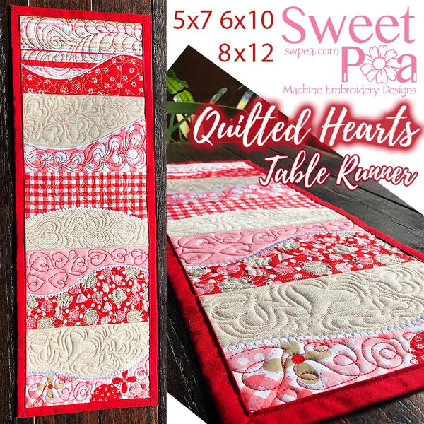 Quilted Hearts Table Runner 5x7 6x10 8x12 - Sweet Pea In The Hoop Machine Embroidery Design