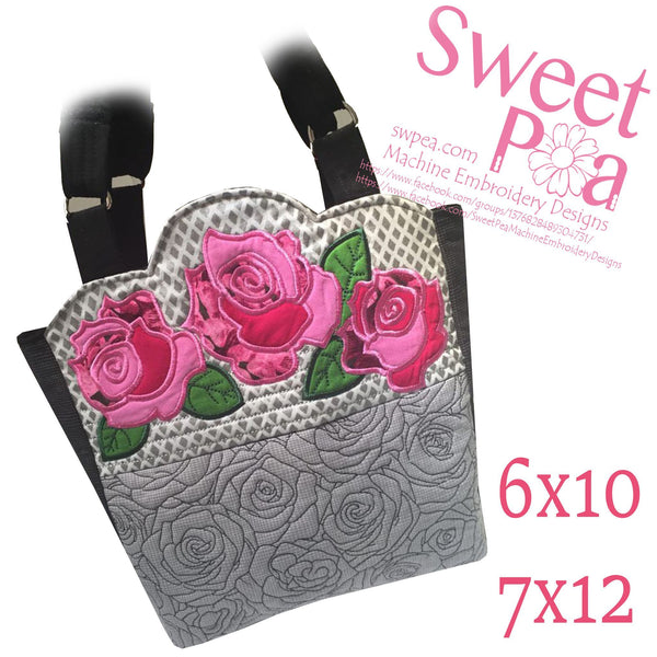 Quilted Roses Bag 6x10 7x12 - Sweet Pea In The Hoop Machine Embroidery Design