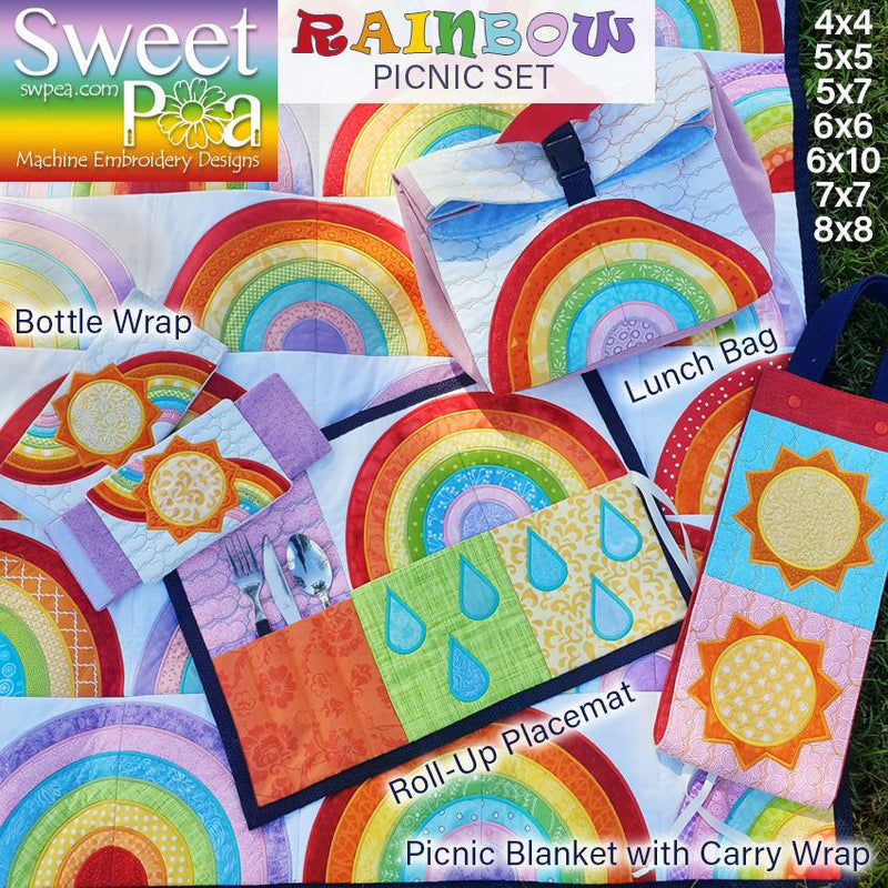 Rainbow Picnic Set - Sweet Pea In The Hoop Machine Embroidery Design