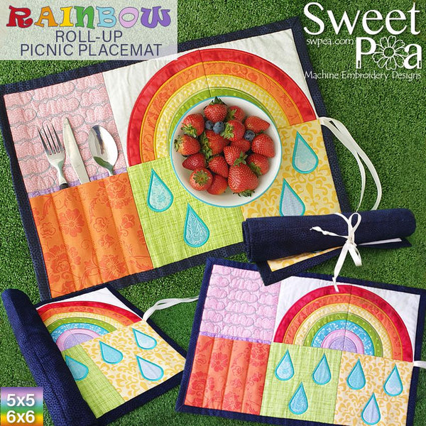 Rainbow Roll-up Picnic Placemat 5x5 6x6 - Sweet Pea In The Hoop Machine Embroidery Design