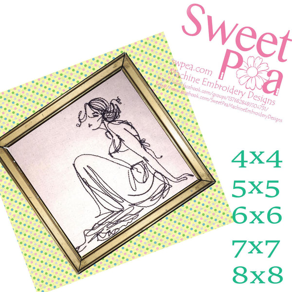 Redwork Relaxed Lady 4x4 5x5 6x6 7x7 and 8x8 - Sweet Pea In The Hoop Machine Embroidery Design
