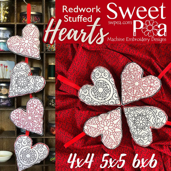 Redwork Hearts Stuffed 4x4 5x5 6x6 - Sweet Pea In The Hoop Machine Embroidery Design
