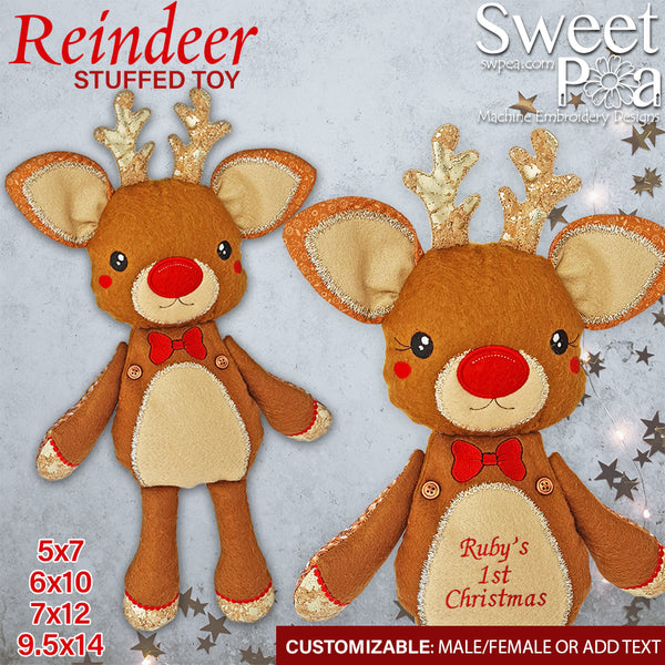 Reindeer Stuffed Toy 5x7 6x10 7x12 9.5x14