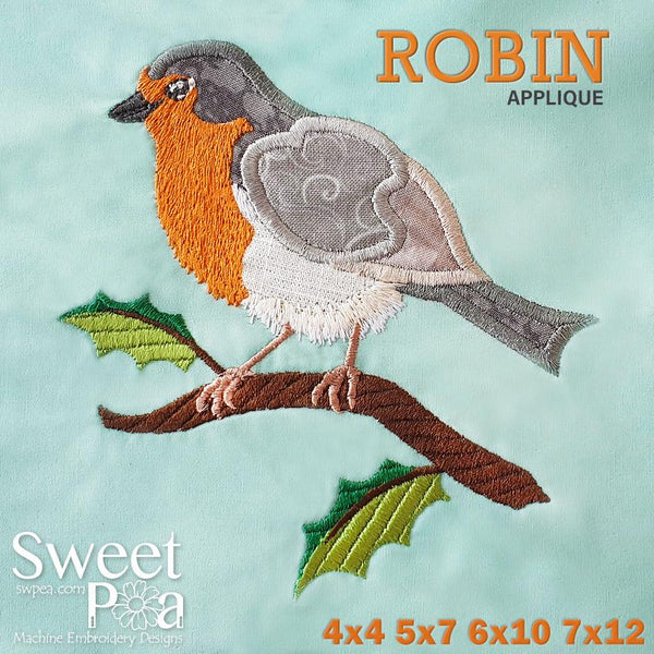 Robin Applique 4x4 5x7 6x10 7x12 - Sweet Pea In The Hoop Machine Embroidery Design