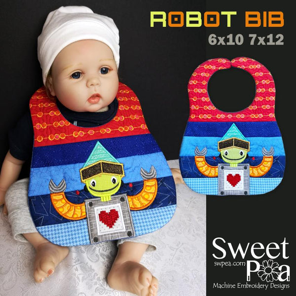 Robot Bib 6x10 and 7x12 - Sweet Pea In The Hoop Machine Embroidery Design