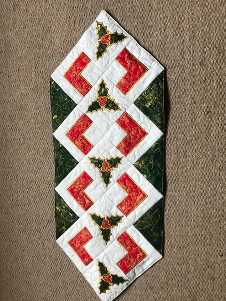 Christmas holly quilt block and table runner 4x4 5x5 6x6 hoop - Sweet Pea In The Hoop Machine Embroidery Design