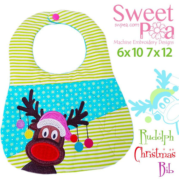 Rudolph Christmas Bib 6x10 and 7x12 - Sweet Pea In The Hoop Machine Embroidery Design