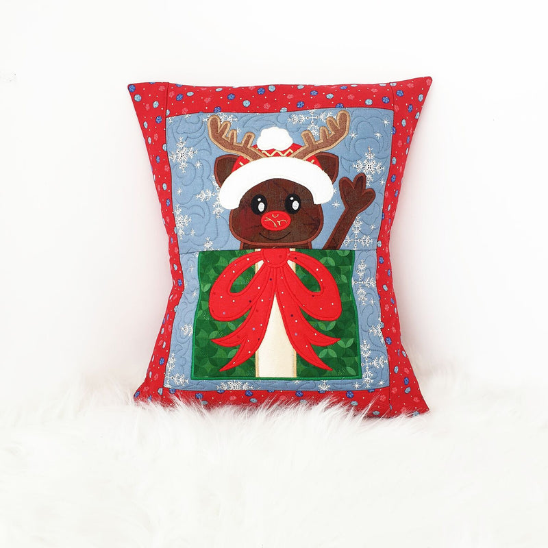 Rudolph Christmas Cushion 5x7 6x10 7x12 - Sweet Pea In The Hoop Machine Embroidery Design