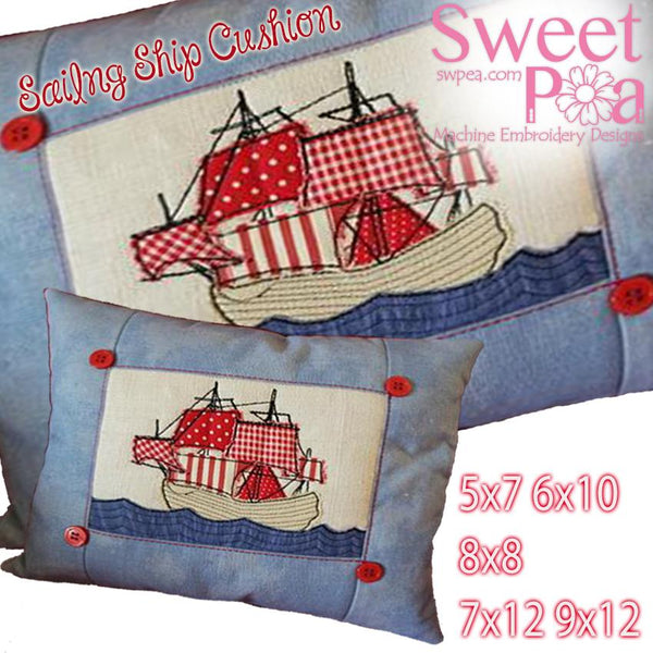 Sailing Ship Cushion 5x7 6x10 8x8 7x12 9x12 - Sweet Pea In The Hoop Machine Embroidery Design