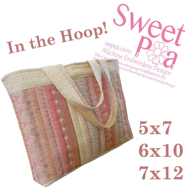 Sampler Tote Bag 5x7 6x10 and 7x12 - Sweet Pea In The Hoop Machine Embroidery Design