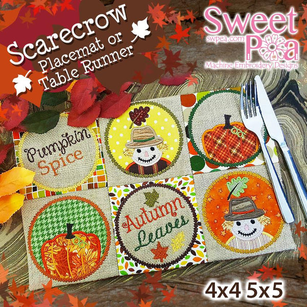 Scarecrow Placemat or Table Runner 4x4 5x5 - Sweet Pea In The Hoop Machine Embroidery Design
