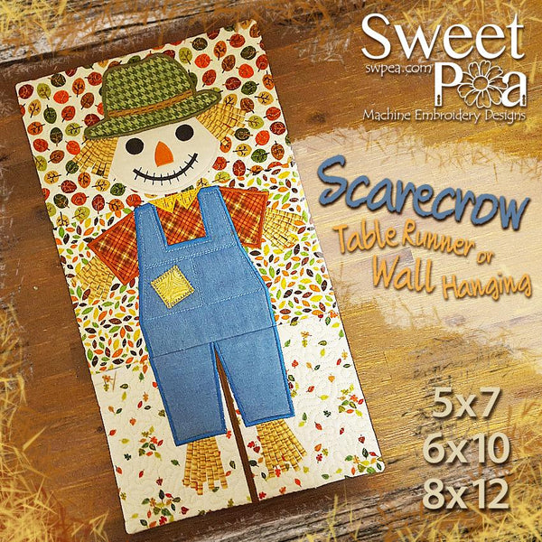 Scarecrow Wall Hanging or Table Runner 5x7 6x10 and 8x12 - Sweet Pea In The Hoop Machine Embroidery Design