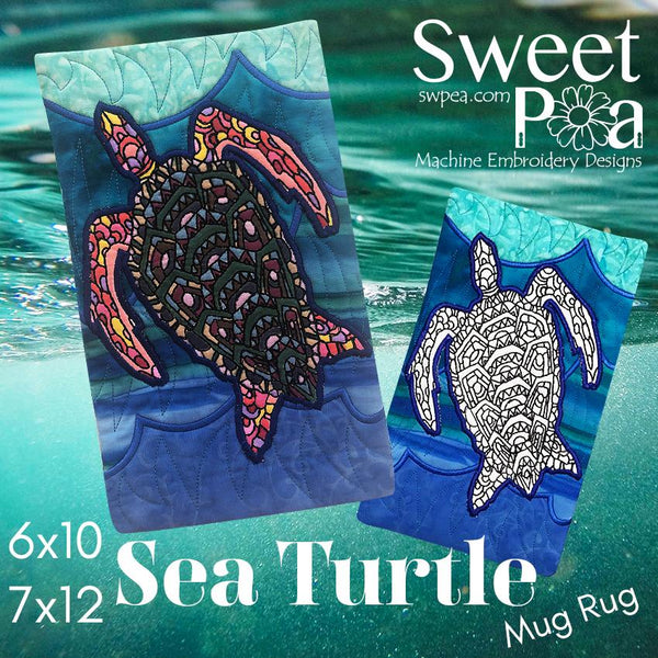 Sea Turtle Colouring in Mugrug 6x10 and 7x12 - Sweet Pea In The Hoop Machine Embroidery Design