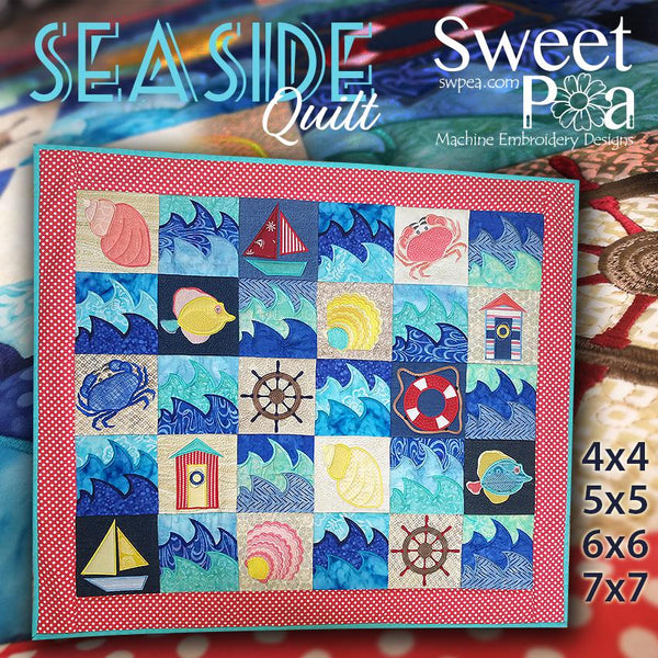 Seaside Quilt 4x4 5x5 6x6 7x7 - Sweet Pea In The Hoop Machine Embroidery Design