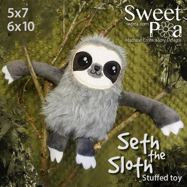 Seth the Sloth Stuffed Toy 5x7 6x10 - Sweet Pea In The Hoop Machine Embroidery Design