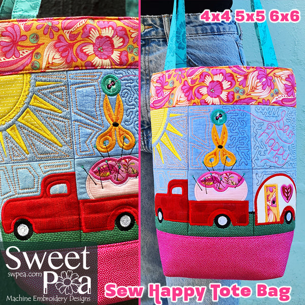 Sew Happy Tote Bag 4x4 5x5 6x6