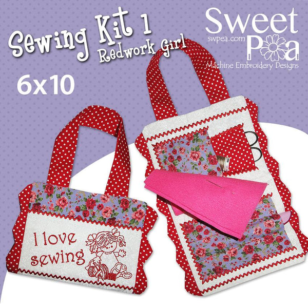 Sewing Kit 1 with Redwork Girl 6x10 - Sweet Pea In The Hoop Machine Embroidery Design