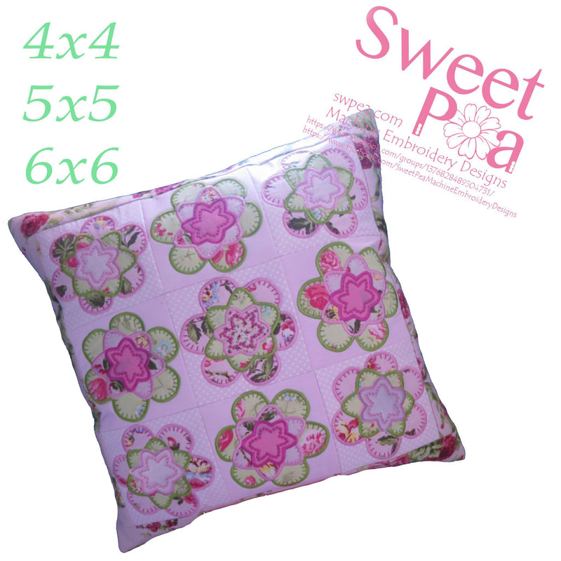 Shabby Flower Cushion and Quilt Block 4x4 5x5 6x6 - Sweet Pea In The Hoop Machine Embroidery Design