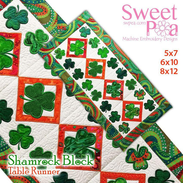 Shamrock Table Runner 5x7 6x10 8x12 - Sweet Pea In The Hoop Machine Embroidery Design
