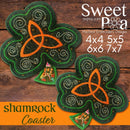 Shamrock Coaster 4x4 5x5 6x6 7x7 - Sweet Pea In The Hoop Machine Embroidery Design
