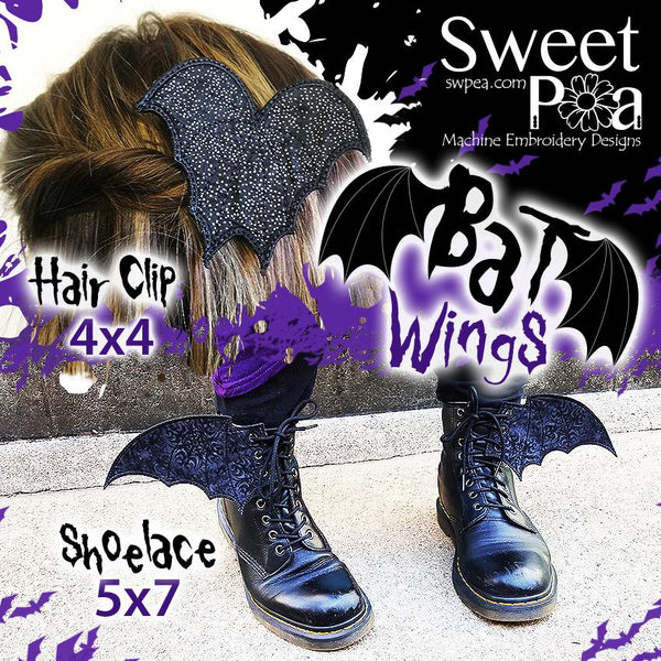 Shoelace Bat Wings 5x7 and Hair Clip 4x4 - Sweet Pea In The Hoop Machine Embroidery Design