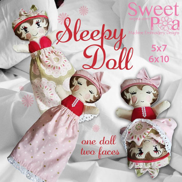 Sleepy Doll 5x7 and 6x10 - Sweet Pea In The Hoop Machine Embroidery Design