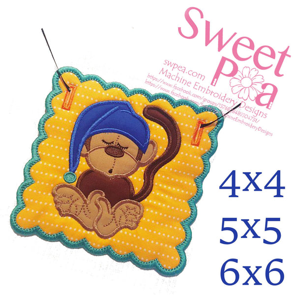 Sleepy Monkey Bunting Add on 4x4 5x5 6x6 - Sweet Pea In The Hoop Machine Embroidery Design