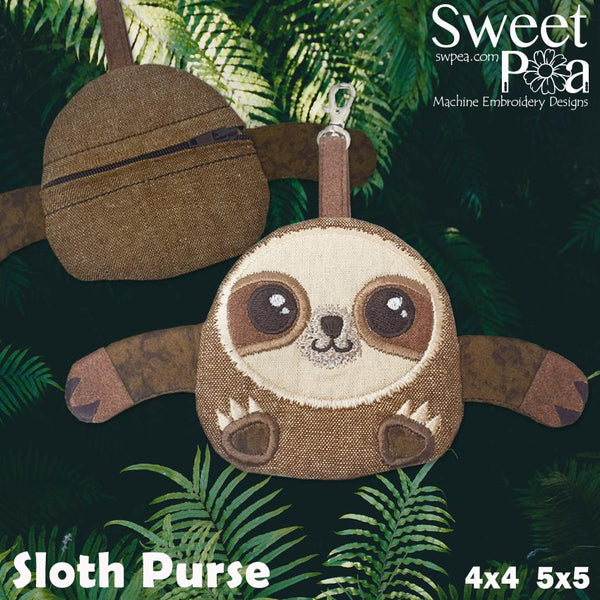 Sloth Purse 4x4 5x5 - Sweet Pea In The Hoop Machine Embroidery Design