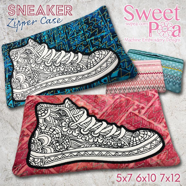 Sneaker Zipper Case 5x7 6x10 and 7x12 - Sweet Pea In The Hoop Machine Embroidery Design
