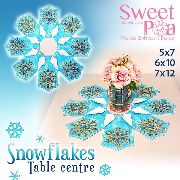 Snowflake Leaf Table Centre 5x7 6x10 7x12 - Sweet Pea In The Hoop Machine Embroidery Design